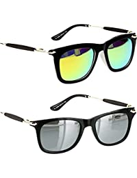 Younky Unisex Combo Pack Of UV Protected Branded Wayfarer Stylish Silver Mercury Sunglasses For Men And Women...