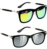 #1: Younky Unisex Combo Pack of UV Protected Branded Wayfarer Stylish Silver Mercury Sunglasses For Men Women Boys And Girls ( YNSS_GM-SM |55| Silver ) - 2 Sunglass Case