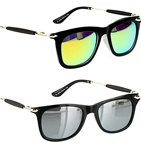 Younky Unisex Combo Pack of UV Protected Branded Wayfarer Stylish Silver Mercury Sunglasses For Men Women Boys And Girls ( YNSS_GM-SM |55| Silver ) - 2 Sunglass Case