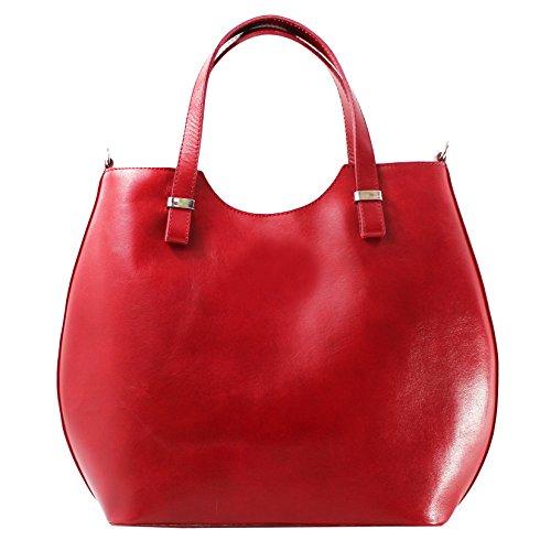 CTM Sac à main femme avec bandoulière, cuir véritable made in italy - 40x33x14 Cm Rouge