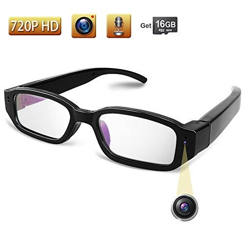 TEKMAGIC 16GB 1280x720P HD Cámara Espía Usable Gafas con Camara Videocámara Grabador de Vídeo Portátil Mini DV Pueden Tomar Fotos
