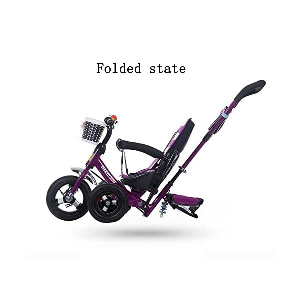 GSDZSY - Children Tricycle Stroller,4 In1 Foldable With Removable Push Handle Bar,Rubber Wheel,Adjustable Awning, 2-6 Years,Multi-colored GSDZSY  3