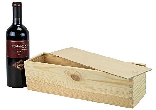 UTI GmbH Weinkiste mit Schiebedeckel - Kiste für Weinflasche - Weinbox - Holzkiste - Geschenkbox