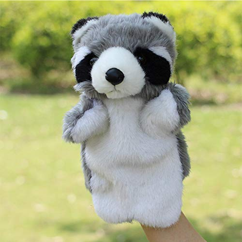 Leoie Kids Toy Soft Plush Racoon Dog Shape Hand Puppet Interactive Toy