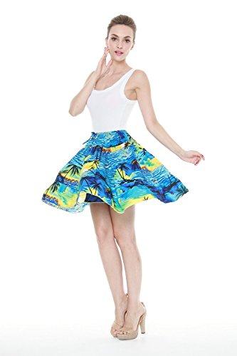 Mujer-Hawaiana-cubre-cuatro-falda-arrugada-Con-la-base-en-Puesta-de-sol-Azul-XL