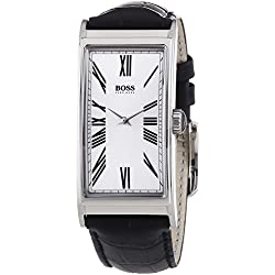 Hugo Boss Men's Quartz Watch with Silver Dial and Black Leather Strap 1512788