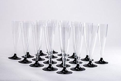 20 Flûtes de champagne originales jetables - Pied noir - Design inédit - Facile à monter - Idéal pour les soirées classes !