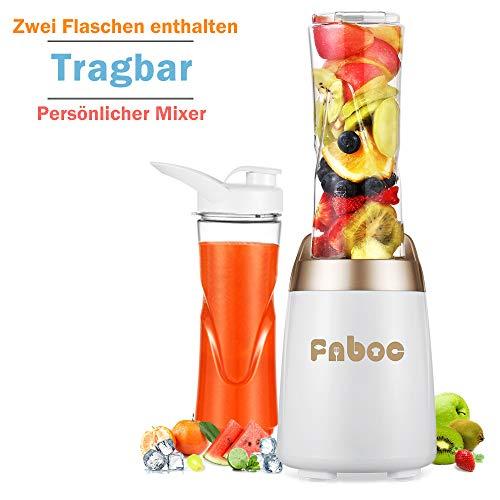 Fnboc Mixer,Smoothie Mixer,300W 2 Tritan Sportflasche für Säftetan Sportflasche für Säfte,Standmixer, Single Serve Mini Bullet Mixer mit, Shakes und Smoothie -
