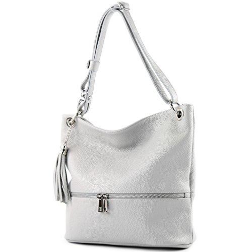 modamoda de - ital. Ledertasche Damentasche Umhängetasche Tasche Schultertasche Leder T143 Grau