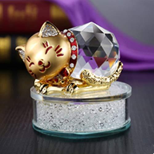 AXIANNV Skulptur Diamant Kristall glückliche Katze Neue Auto Dekoration Auto Parfüm Autozubehör Parfüm Halter-Gold
