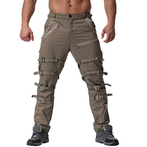 Malloom Herren Jeans Hose Pocket locker lässige Jeans Stretch Jogger Sporthose Vintage Baumwolle Multi Reißverschluss Cargo Lange Hosen