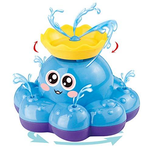 Juguete de Baño Funcorn, Pulpo Rociador de Agua Electrónico (Color Aleatorio) Puede Rotar con Fuente, Flota en Bañera, Ducha, Baño, Piscina Juguete para Bebé, Niño, Fiesta Infantil - Bomba de Agua