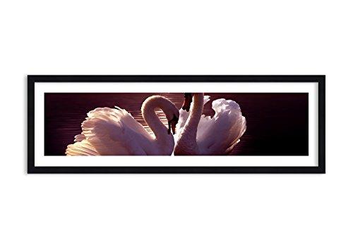 Quadro in cornice di legno di colore nero - quadro in cornice - quadro su tela - larghezza: 90cm, altezza: 30cm - numero dell'immagine 0223 - pronto da appendere - completamente incorniciato - f1bab90x30-0223