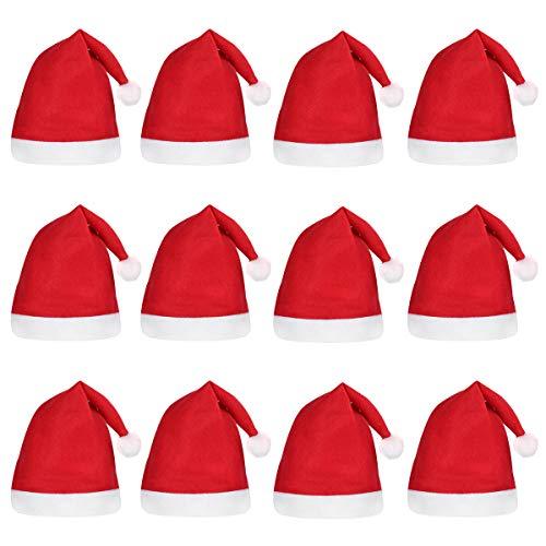 Kostüm Für Neuheit Erwachsene - BESTOYARD 12 STÜCKE Weihnachten Hut Kleid Party Tragen Hut Weihnachtsmann Hut Weihnachten Kappe für Kinder Erwachsene Neuheit Weihnachten Kostüm Dekoration
