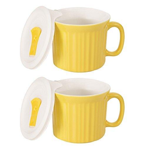 Corningware Country Cottage Suppen Tasse mit Deckel belüftet Mikrowelle 20-oz-2Pack (20 Unze-kaffee-tasse Deckel)