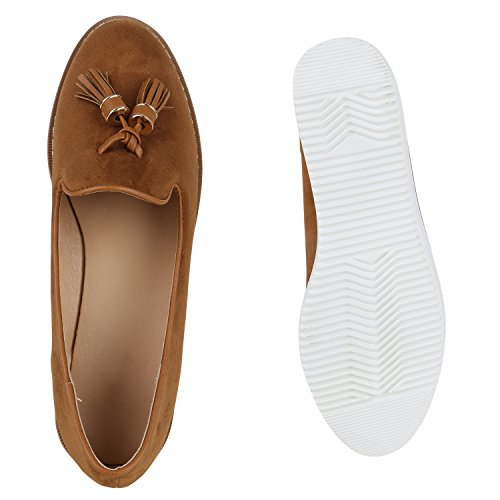 Damen Loafers Quasten Glitzer Slipper Profilsohle Dandy Geek Hellbraun Matt