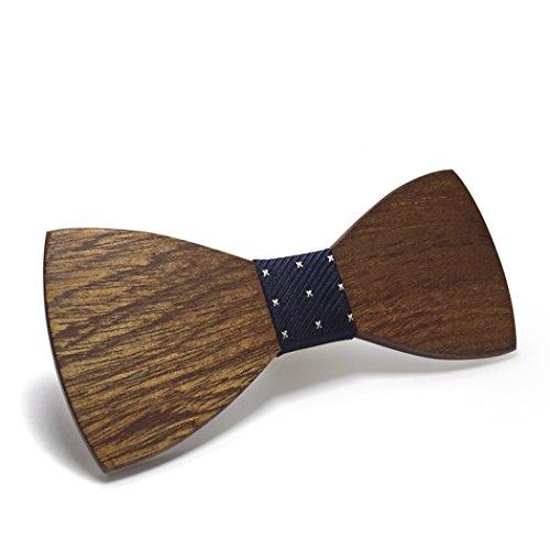 MESE London Herren Hölzern Bogen Krawatte Elegant Smoking Hochzeit Braun 120x52x4 mm