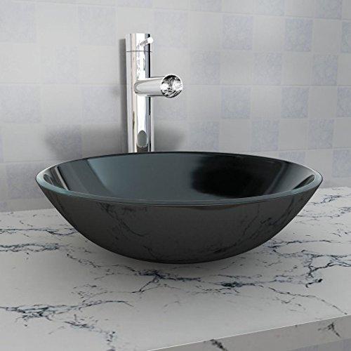 Tidyard- lavandino in vetro temperato, lavello della cucina 42 cm nero