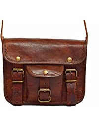 "18""Pure Genuine Leather Handmade Satchel Messenger Laptop Unisex Shoulder Bag Real Brown Briefcase Cross Body..."