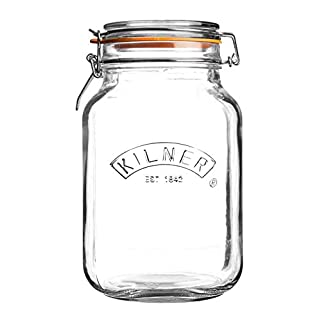 Kilner Square Glass Clip Top Jar with Airtight Rubber Seal, 2 Litre