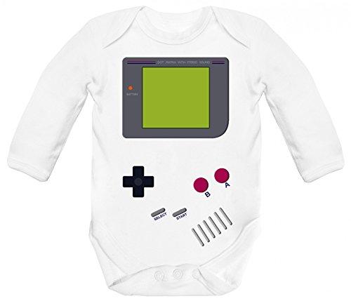 ShirtStreet Gamer Nerd Geek Strampler Bio Baumwoll Baby Body langarm Jungen Mädchen Retro Spielkonsole, Größe: 6-12 Monate,White