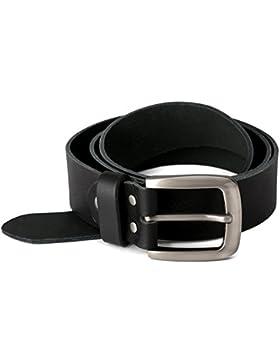 Schwarzer Vollledergürtel aus weichem Büffelleder, 40mm breit und ca. 4mm stark, kürzbar, Bundweite 100, 110,...
