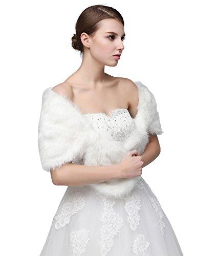 Sarahbridal Damen Kunstpelz Wrap Cape Hochzeit Stola-Schal Bolero für Brautkleid Warm Winter Umhang S17012 Weiß-002