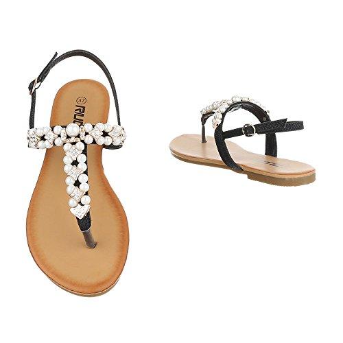 Zehentrenner Damenschuhe Peep-Toe Blockabsatz Zehentrenner Schnalle Ital-Design Sandalen / Sandaletten Schwarz
