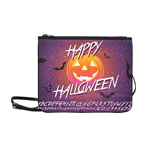 WYYWCY Happy Halloween typografische Kürbis Scary Custom hochwertige Nylon dünne Clutch Cross Body Bag Schultertasche