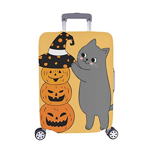 Karikatur-Nette Halloween-Katzen-Hut-Kürbis-Spandex-Trolley Reise-Gepäck-Schutz-Koffer-Abdeckung 28,5 x 20,5 Zoll