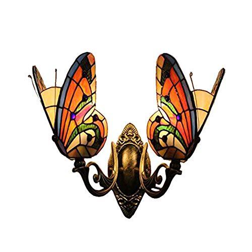 Tiffany-Stil Wandleuchte Schmetterling Farbe Glas Spiegel Frontleuchten Schlafzimmer neben Lampe 2 Lichter -