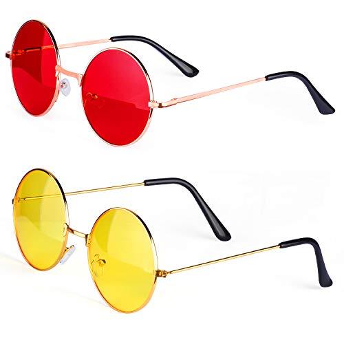 Kinder John Kostüm Lennon - Haichen Hippie Retro Sonnenbrille 60er Jahre John Lennon Style runde farbige Brille Kostümzubehör (B)