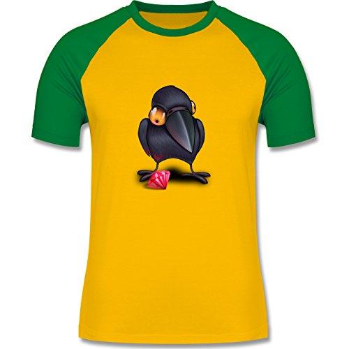 Vögel - Krähe mit Juwel - zweifarbiges Baseballshirt für Männer Gelb/Grün