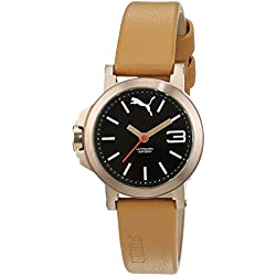 Puma Ultrasize Mini Women's Quartz Watch with Brown Dial Analogue Display and Cream Leather Strap PU104082002