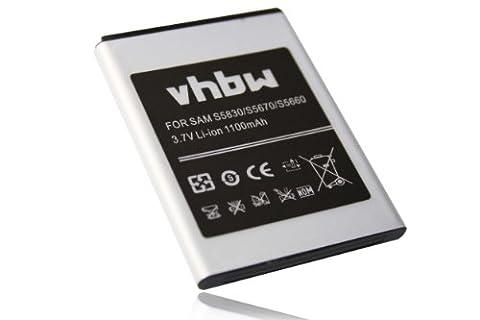 vhbw Li-Ion Akku 1100mAh (3.7V) für Handy Smartphone Telefon Samsung Galaxy Gio GT-S5660, Fit GT-S5670, S Mini, GT-S5830, GT-S5830T wie EB494358VU.