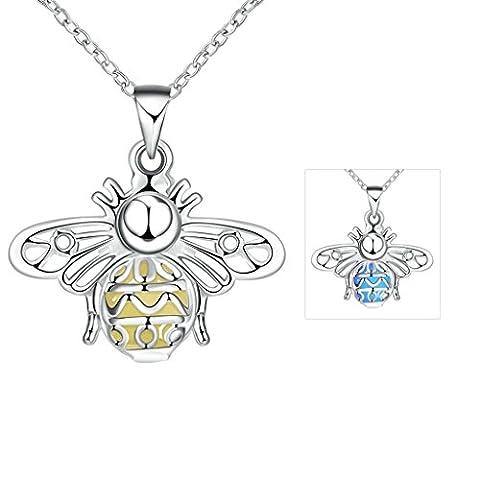 Collier en Argent Plaqué, Femmes Petite Forme De Papillon Sombre Bleu Collier Avec Pendentif Lumineux