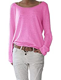 Damen Rundhalsausschnitt Langarm Lose Bluse Strickpulli Hemd Shirt Oversize  Sweatshirt in vielen Trend Farben Tops S 149ef5afa2
