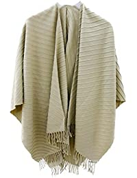 accessu® Womens Poncho Cape Coat Pleated Design, Elegant Alternative to Pullover and Jacket - Poncho Capa para Mujer
