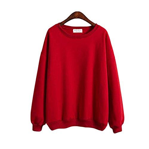 Hzjundasi Frau mit langen Ärmeln Volltonfarbe Rundhals Jacke Mantel Warm Sweatshirt Rot S (Rot Activewear)