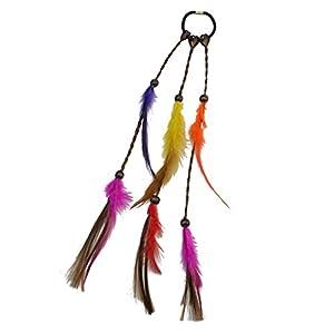 F Fityle Feder Haarband Haaretragen Quaste Geflochten Feder Kopfschmuck Leder Seil für Frauen Festival Karneval Boho Haar Zubehör