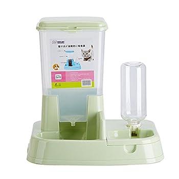 Aosbos 2 en 1 Distributeur Automatique de Nourriture Croquette et d'eau pour Chat et Chien avec Gamelle et Bouteille - 3L Vert