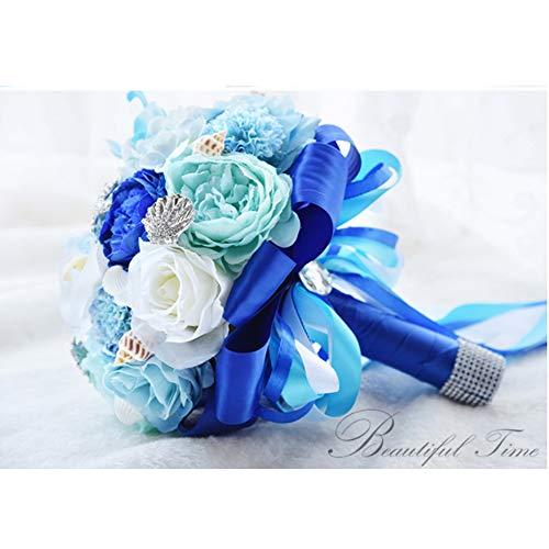 QMKJ Hochzeits-Holding Blumen mit Rhinestone Hawaii Ocean Star Bridal Bouquet Pure Manual Blue Artificial Rose Blumenbraut Brautjungfer Decoration ()