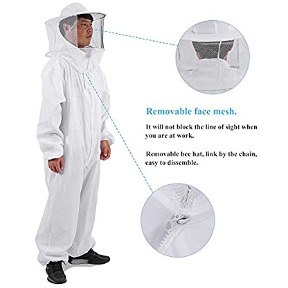 Zerodis Beekeeping Suit Beekeeping Protective Equipment Bee Keeping Full Body Cloth with Veil Hood Total Protection for Professional & Beginner Beekeepers(XL) 5