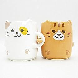 "Gato Pareja ""Nakayoshi"" Pair Taza Set 2 taza de cerámica Copas de Japón LF-0956"