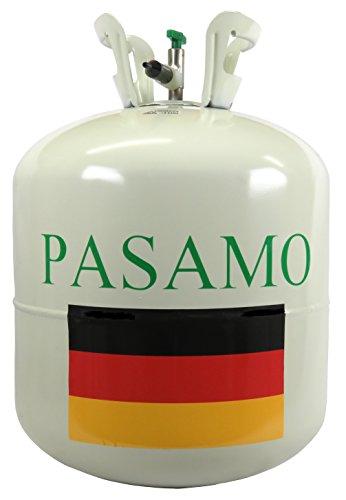 Pasamo 250 Helium XXL ausschließlich MARKENGAS nach DIN EN ISO 14175 Ballongas mehr als 99% Rein - To Go - Stahlflasche GROSS mit 0,25 m³ = 250 Liter PRALL gefüllt