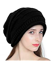 Babji Black Slouchy Woolen Long Beanie Cap for Winter