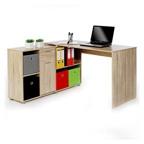 Schreibtisch Eckschreibtisch CARMEN in Sonoma Eiche mit Regal 120x75x59 cm Winkelkombination