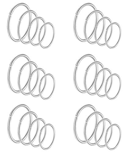 VFUN 24 20G Pieces Stainless Steel Fake Piercing Nose Ring Tragus Cartilage Helix Ear Piercing Lip Septum Labret Piercing 6-12MM