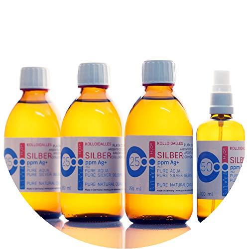 850ml argento colloidale - 3 bottiglie da 250 ml/25 ppm argento colloidale + spray (100 ml/50 ppm) - 99,99% puro argento - migliore qualità - made in germany
