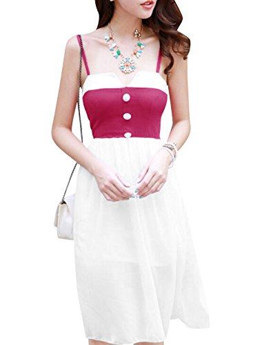 Lady Spaghetti Träger Farbblock Chiffon Überzug Knielanges Kleid Fuchsia